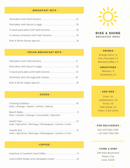 Breakfast Menu Template Free Fresh Customize 64 Breakfast Menu Templates Online Canva