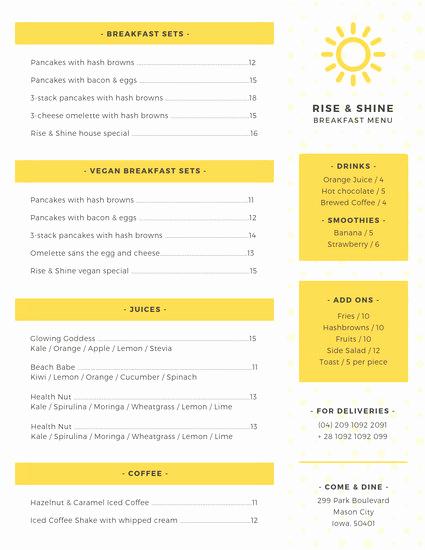 Breakfast Menu Template Free Fresh Customize 64 Breakfast Menu Templates Online Canva
