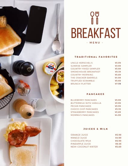 Breakfast Menu Template Free Fresh Modern Continental Breakfast Menu Templates by Canva
