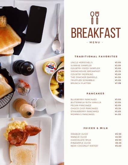 Breakfast Menu Template Free Fresh Modern Continental Breakfast Menu Templates by Canva
