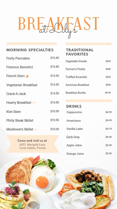 Breakfast Menu Template Free Inspirational Breakfast Menu Digital Display Board Template
