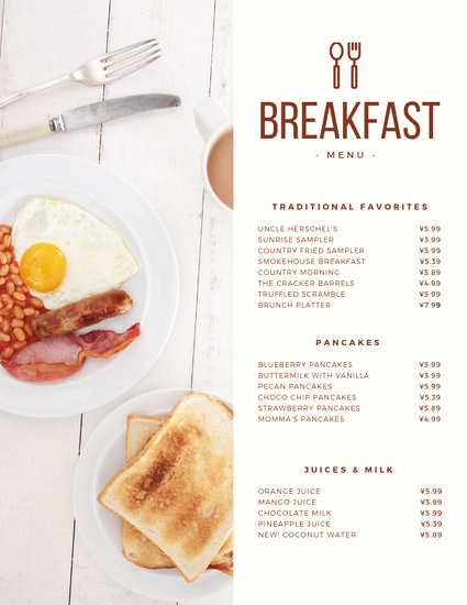 Breakfast Menu Template Free Inspirational Customize 64 Breakfast Menu Templates Online Canva