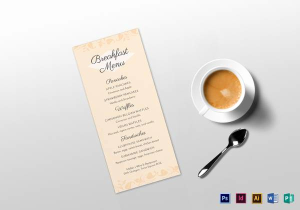 Breakfast Menu Template Free Inspirational Free 25 Dinner Party Menus In Illustrator