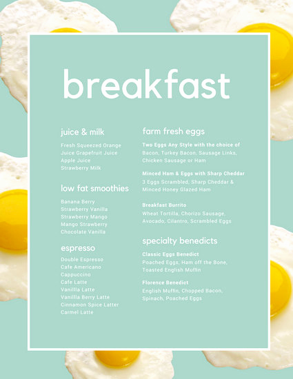 Breakfast Menu Template Free Lovely Sunny Side Up Egg Breakfast Menu Templates by Canva