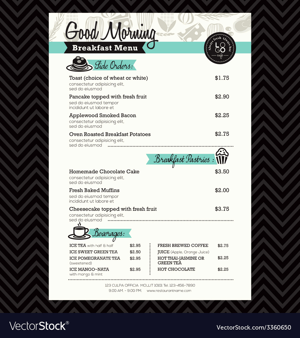 Breakfast Menu Template Free Luxury Restaurant Breakfast Menu Design Template Layout Vector Image