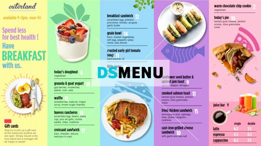 Breakfast Menu Template Free New Breakfast Menu Template for Digital Menu Boards