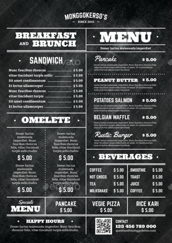 Breakfast Menu Template Free Unique 14 Elegant Brunch Menu Templates Psd Ai
