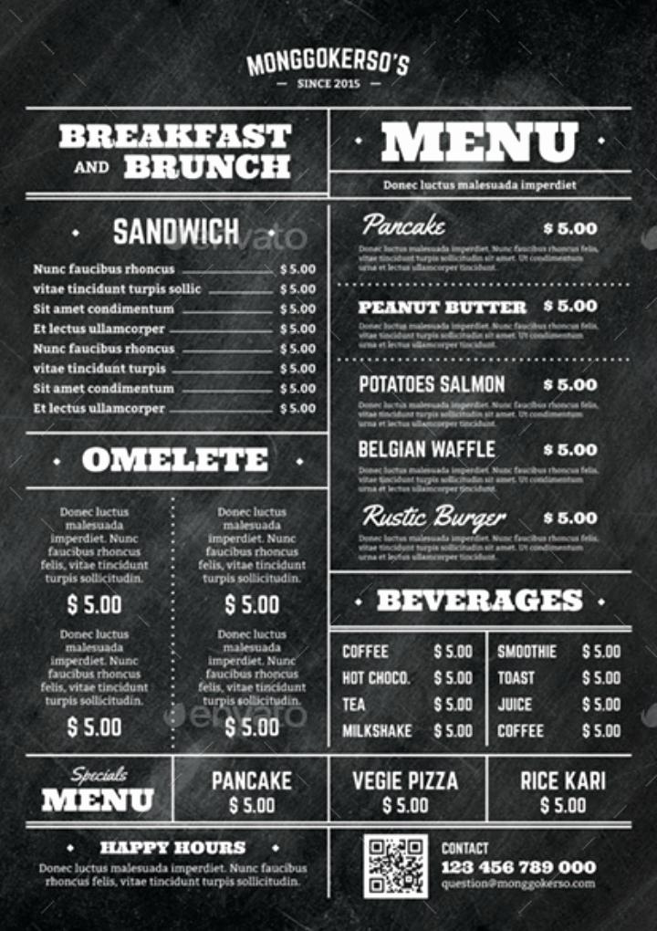 Breakfast Menu Template Free Unique 14 Elegant Brunch Menu Templates Psd Ai