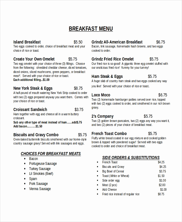 Breakfast Menu Template Free Unique 33 Menu Templates Ai Psd Docs Pages