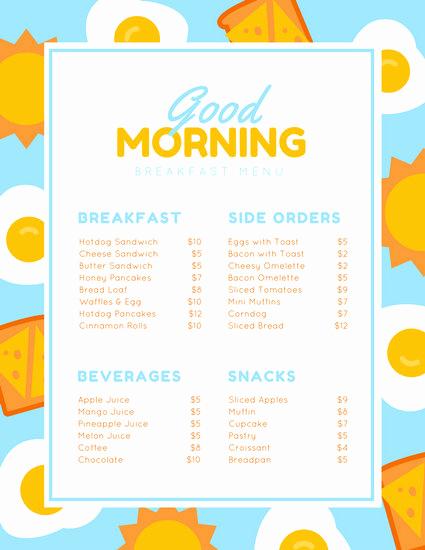 Breakfast Menu Template Free Unique Breakfast Menu Templates Canva