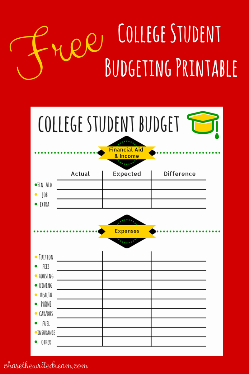 Budget Template for College Students Elegant College Bud Template Free Printable for Students