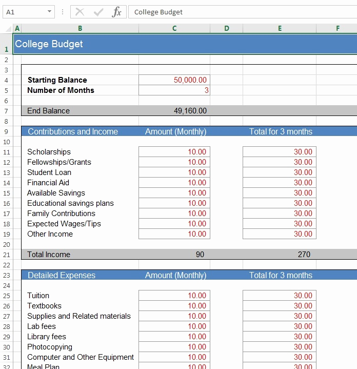 Budget Template for College Students Luxury Download Free Excel Examples Downloadexceltemplate