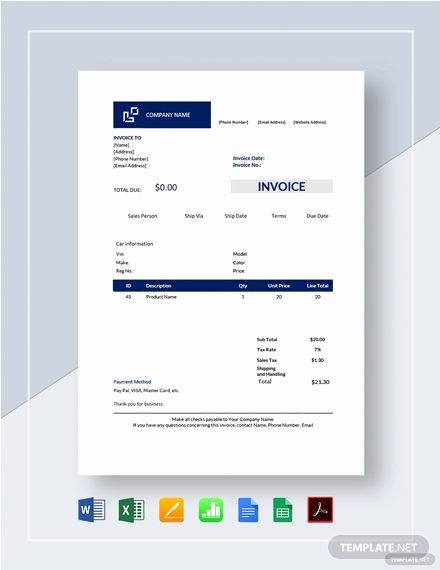 sample car invoice