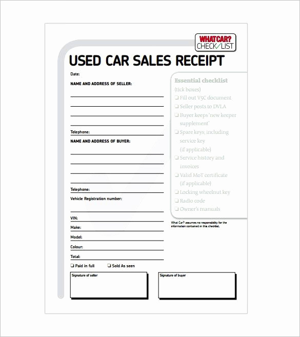 Car Sales Invoice Template Lovely Car Sale Receipt Receipt Template Doc for Word