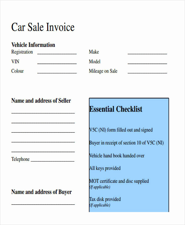 Car Sales Invoice Template Unique Free 16 Sales Invoice Templates In Ms Word