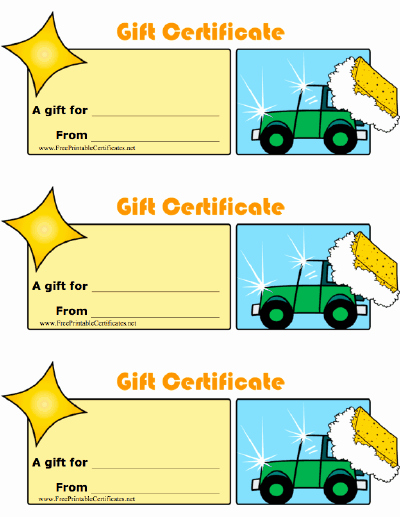 Car Wash Gift Certificate Template Beautiful Car Wash Gift Certificate Printable Certificate