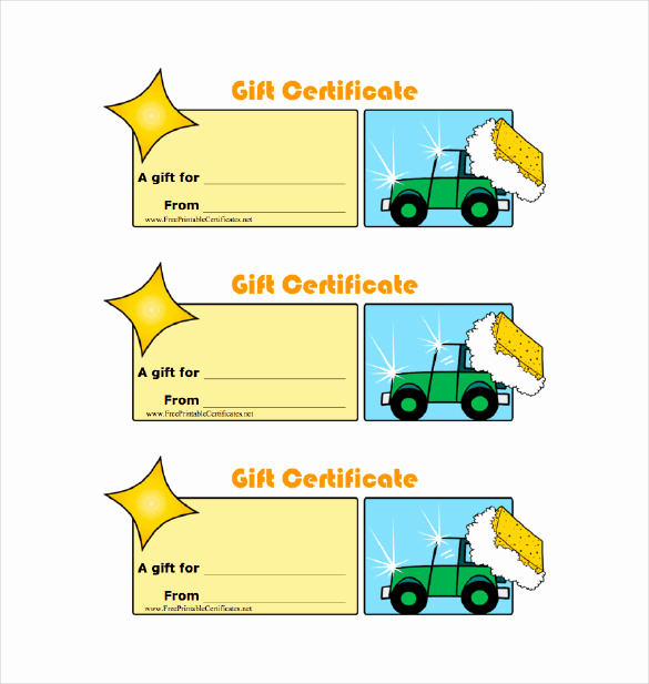Car Wash Gift Certificate Template Best Of Certificate Templates Gift Certificate Template 8 Free