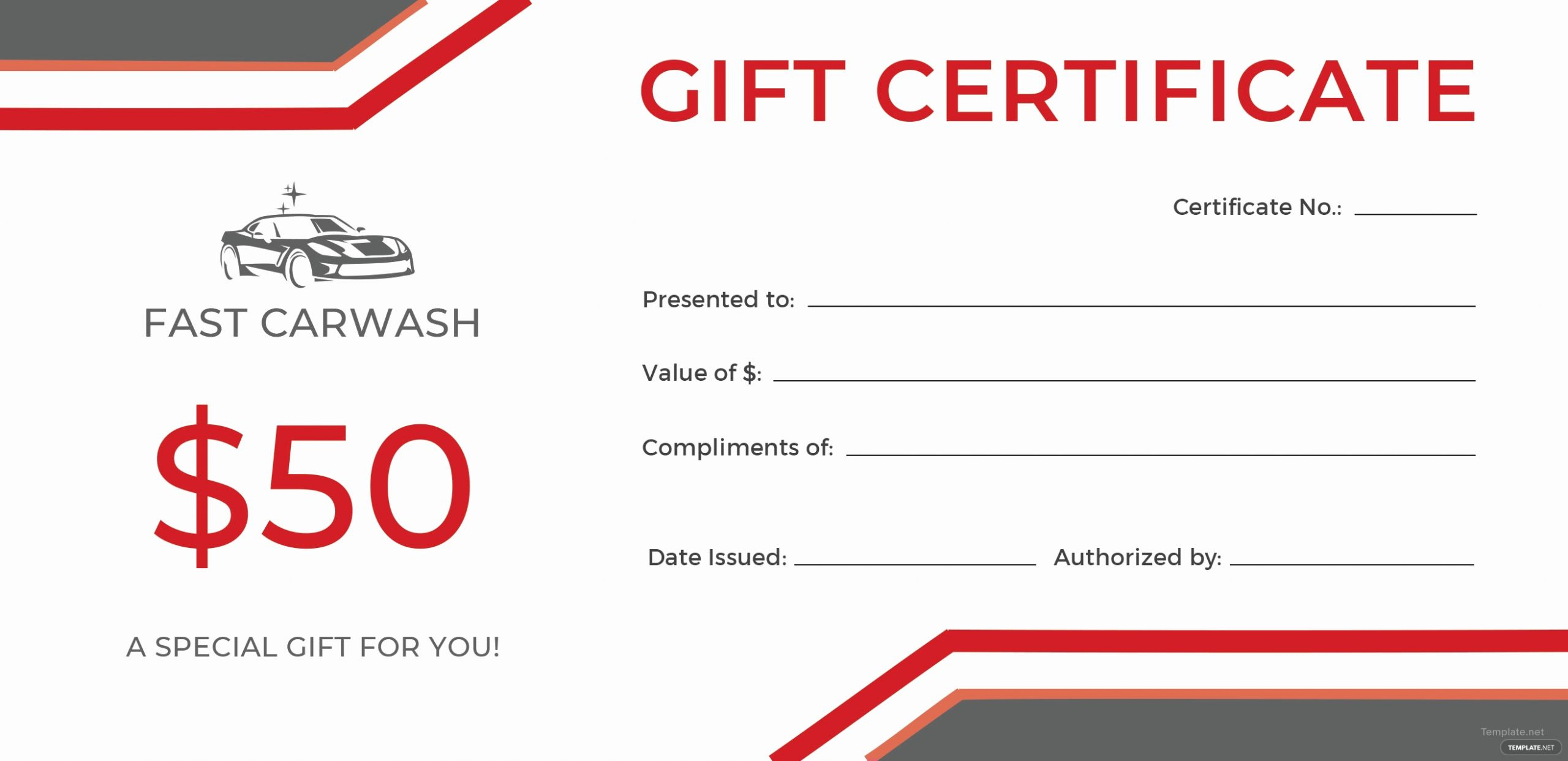 Car Wash Gift Certificate Template Luxury Free Carwash Gift Certificate Template In Adobe