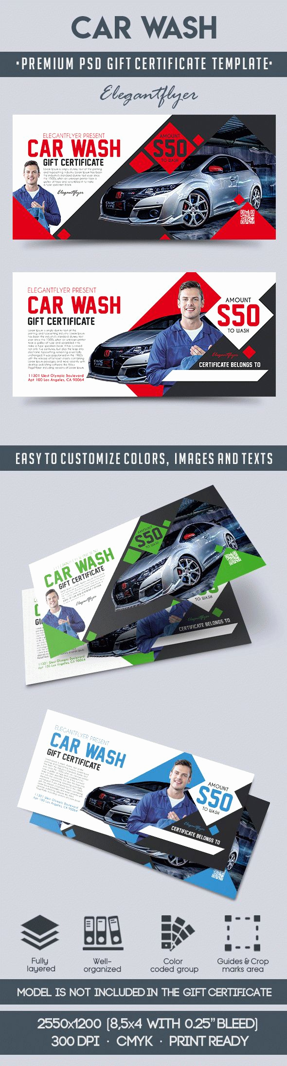 Car Wash Gift Certificate Template Unique Car Wash – Premium Gift Certificate Psd Template – by