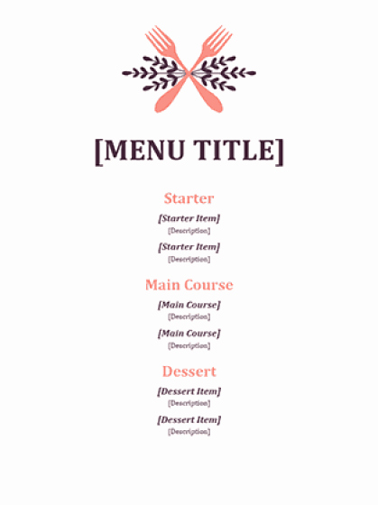 Catering Menu Template Word Beautiful 21 Free Free Restaurant Menu Templates Word Excel formats