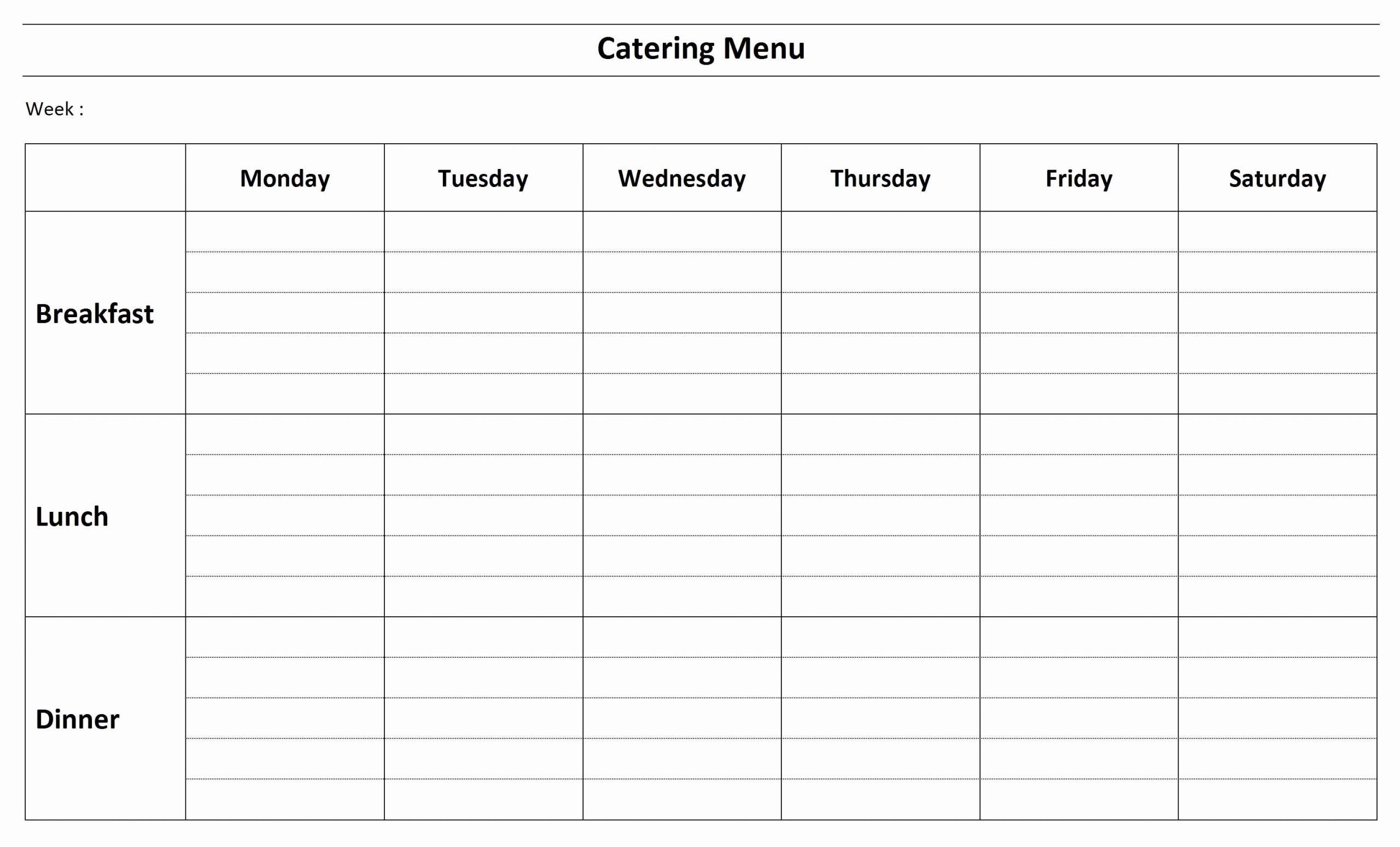 Catering Menu Template Word Elegant Catering Menu