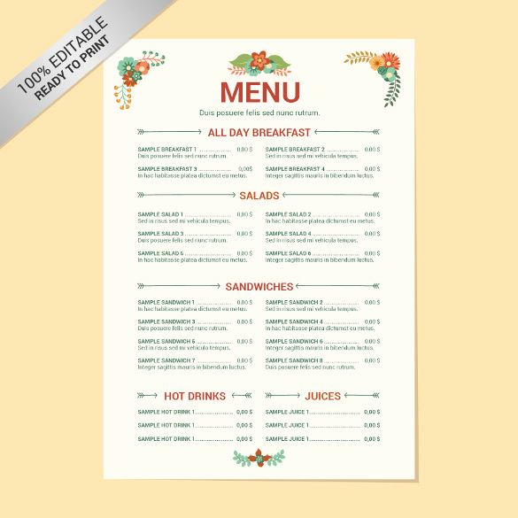 Catering Menu Template Word Fresh 23 Free Menu Templates Pdf Doc Excel Psd