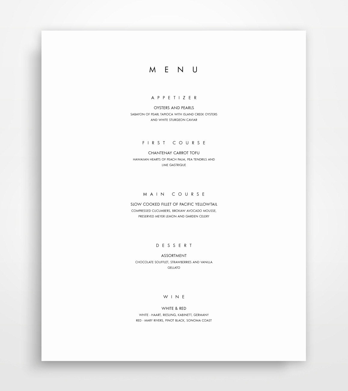 Catering Menu Template Word Fresh Menu Template Printable Menu Modern Menu Minimalist Menu