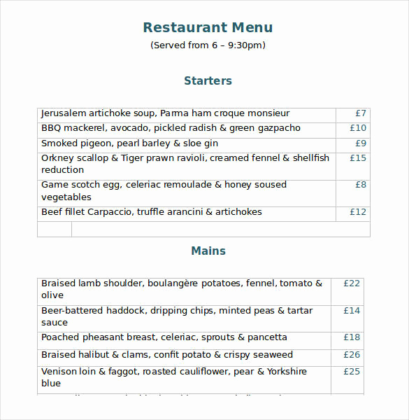 Catering Menu Template Word Lovely 32 Word Menu Templates Free Download