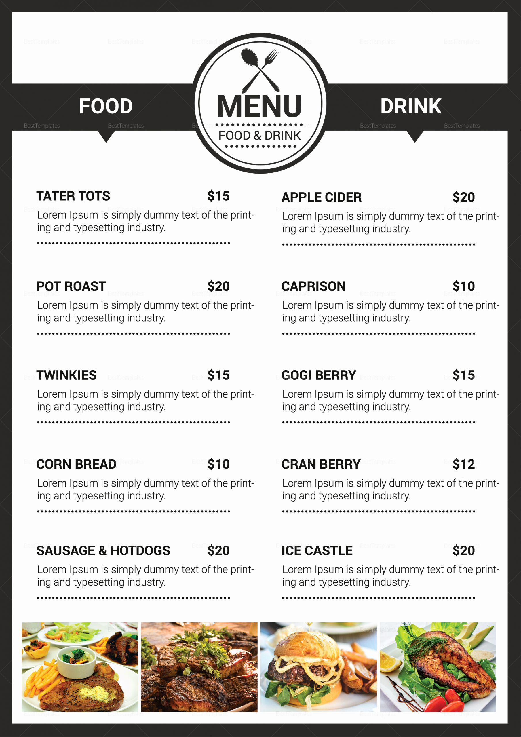 Catering Menu Template Word Lovely Catering Services Menu Design Template In Psd Publisher Word