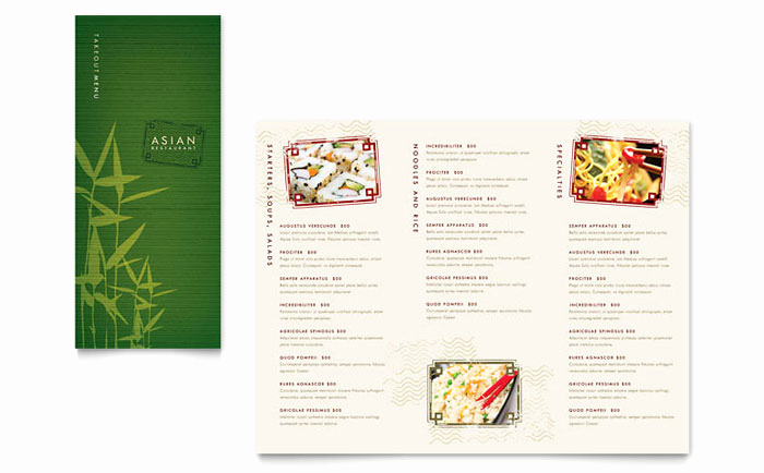 Catering Menu Template Word Unique asian Restaurant Take Out Brochure Template Design