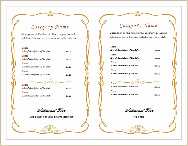 Catering Menu Template Word Unique Editable Menu Templates for Ms Word