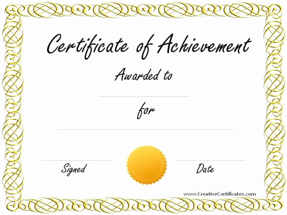 Certificate Of Accomplishment Template Awesome Free Customizable Certificate Of Achievement