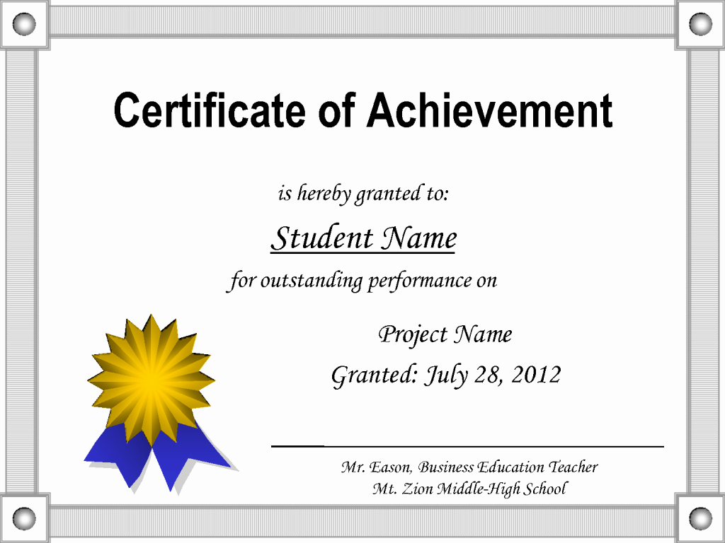 Certificate Of Accomplishment Template Best Of Printable Certificate Of Achievement