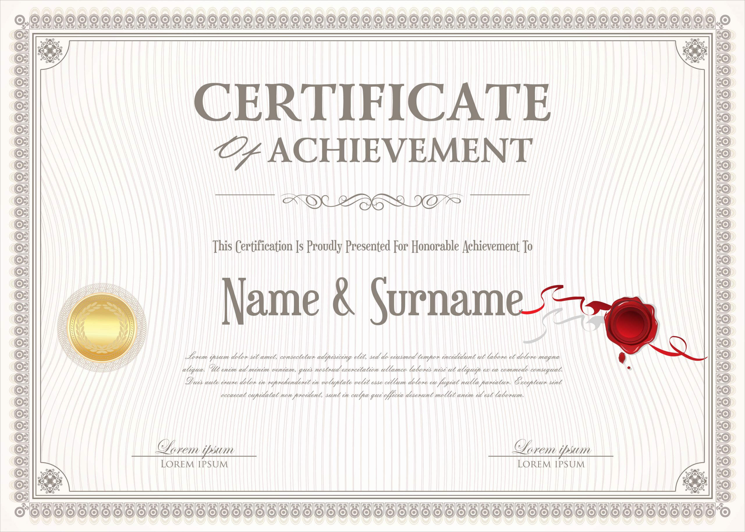 Certificate Of Accomplishment Template Elegant Certificate Of Achievement Retro Design Template