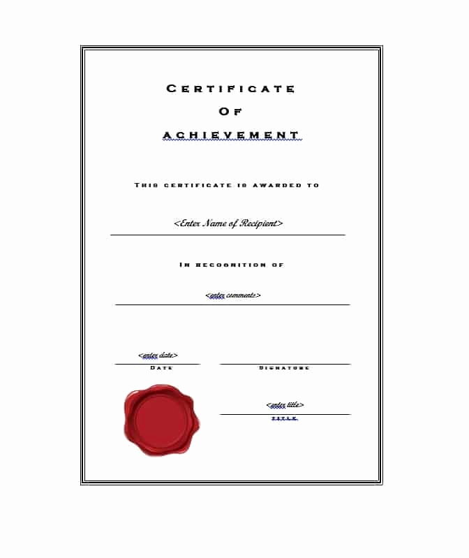 Certificate Of Accomplishment Template Fresh 40 Great Certificate Of Achievement Templates Free