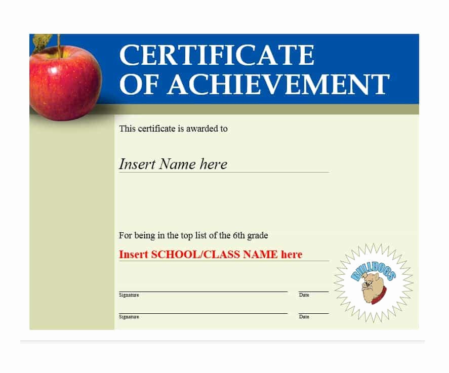 Certificate Of Accomplishment Template New 40 Great Certificate Of Achievement Templates Free