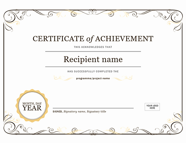 Certificate Of Achievement Template Free Awesome Certificate Of Achievement