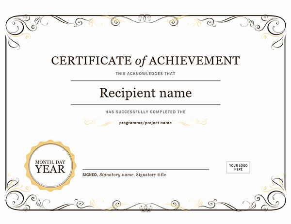 Certificate Of Achievement Template Free Awesome Certificate Of Achievement
