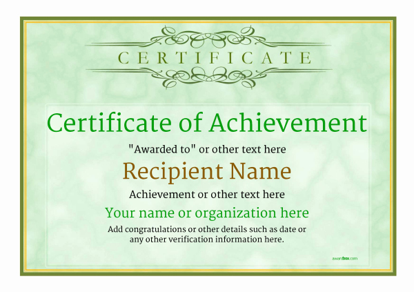 Certificate Of Achievement Template Free Beautiful Certificate Of Achievement Free Templates Easy to Use