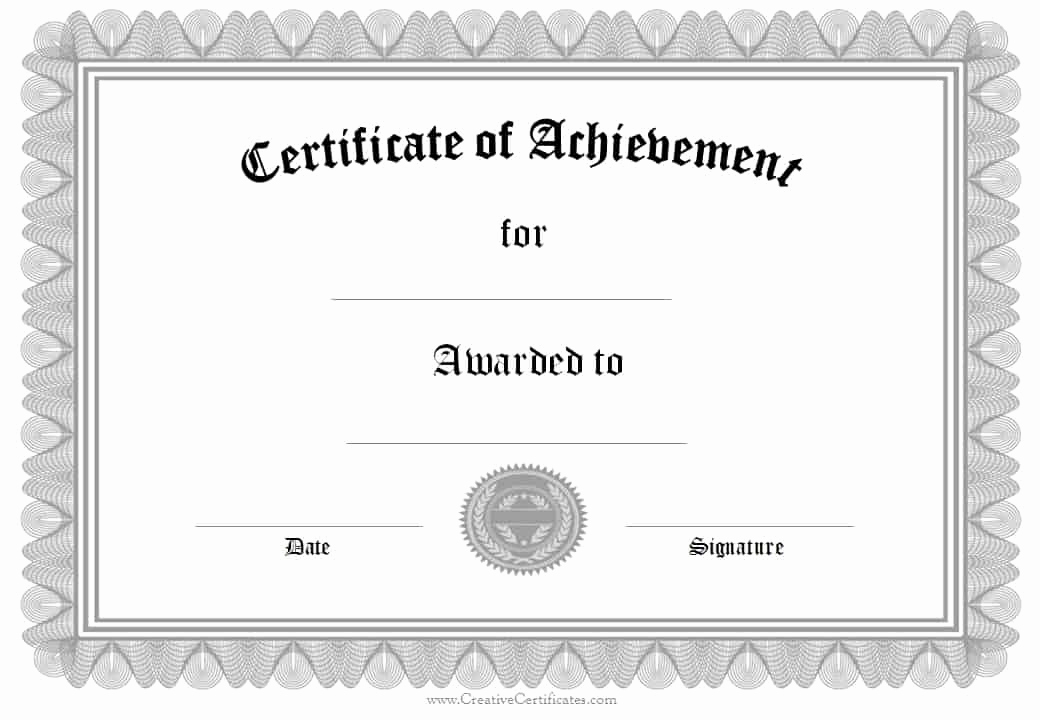 Certificate Of Achievement Template Free Beautiful Free formal Award Certificate Templates