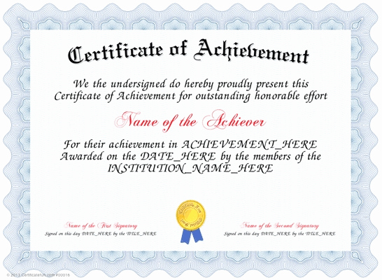 Certificate Of Achievement Template Free Best Of Certificate Templates