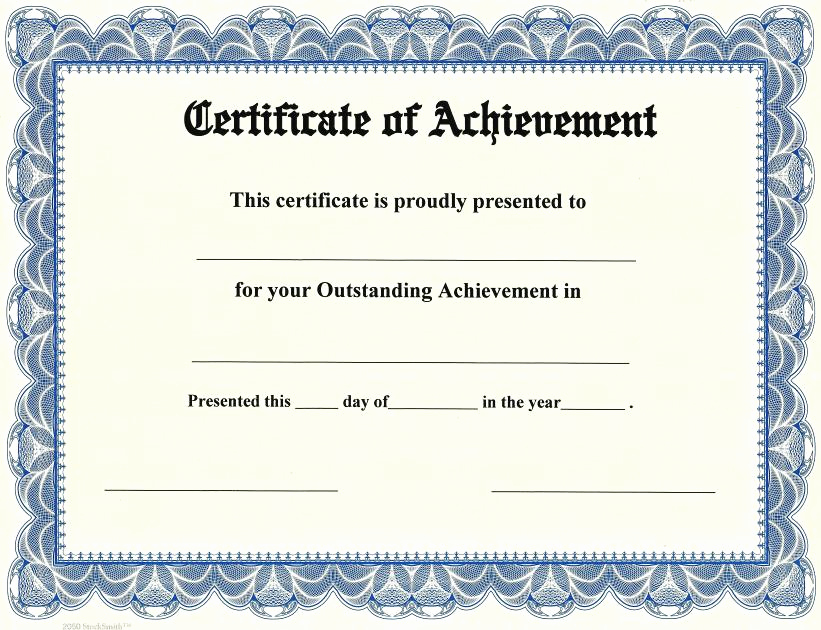 Certificate Of Achievement Template Free Fresh Certificate Of Achievement On Stocksmith Border Qty 20