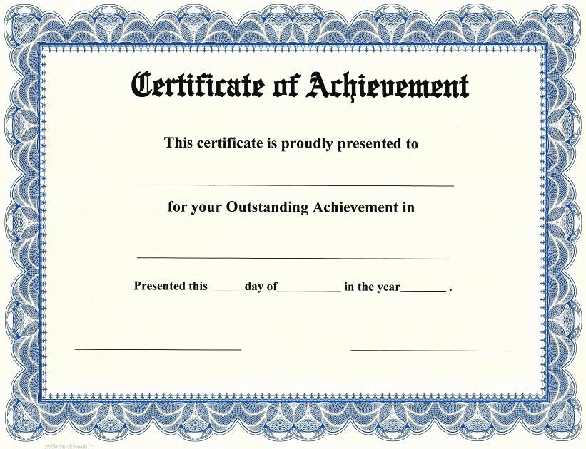 Certificate Of Achievement Template Free Fresh Certificate Of Achievement On Stocksmith Border Qty 20