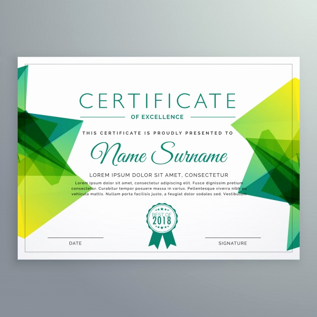 Certificate Of Achievement Template Free Fresh Polygonal Green Achievement Certificate Template Vector