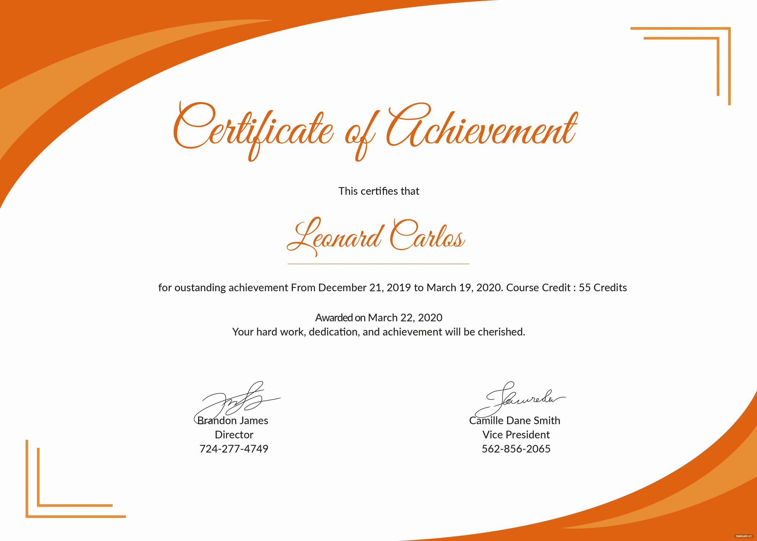 Certificate Of Achievement Template Free Inspirational Certificate Templates