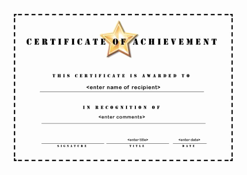Certificate Of Achievement Template Free Lovely Certificate Of Achievement 003