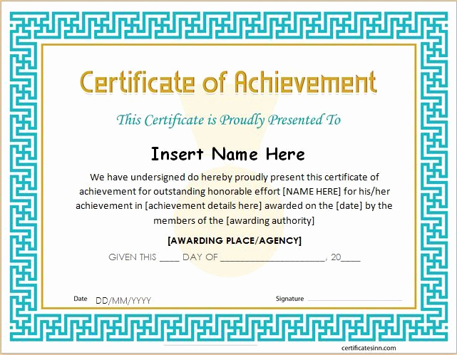 Certificate Of Achievement Template Free Lovely Certificate Of Achievement Template for Ms Word Download