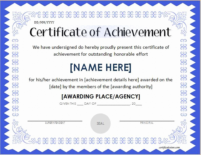 Certificate Of Achievement Template Free Lovely Pin by Alizbath Adam On Certificates