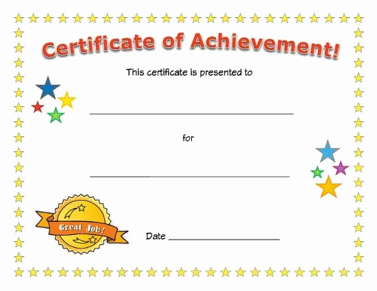Certificate Of Achievement Template Free Luxury Certificate Of Achievement