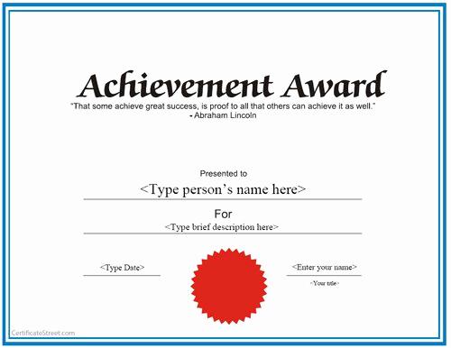 Certificate Of Achievement Template Free Luxury Special Certificate Achievement Award Certificate